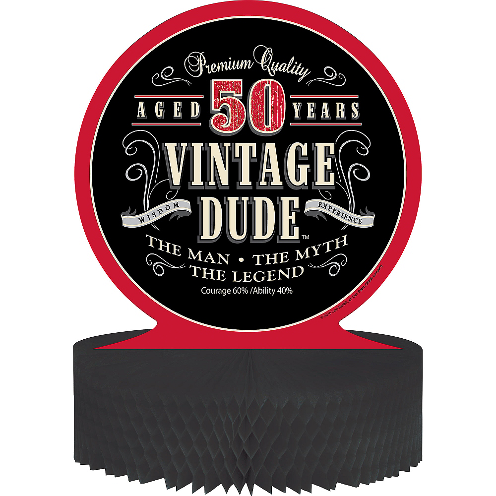 Nav Item for Vintage Dude 50th Birthday Honeycomb Centerpiece Image #1