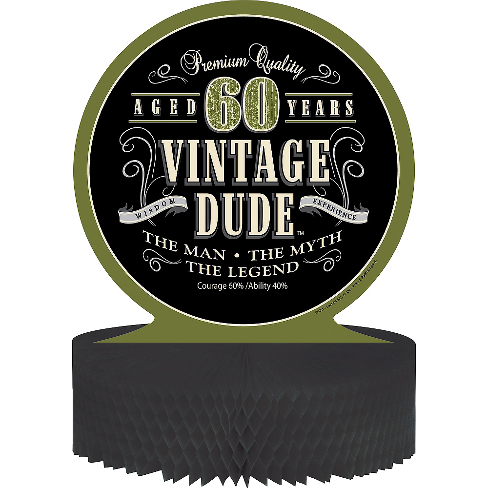 Vintage Dude 60th Birthday Honeycomb Centerpiece Image #1