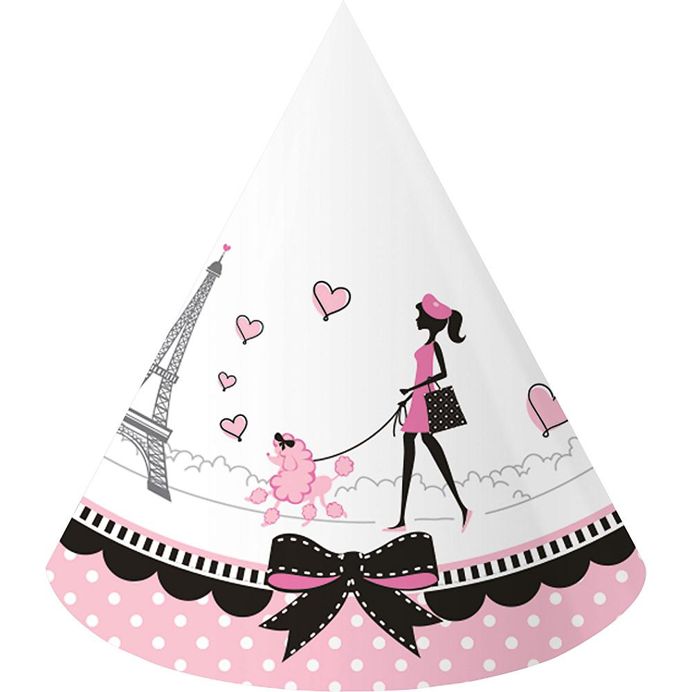 Pink Paris Party Hats 8ct Image #1