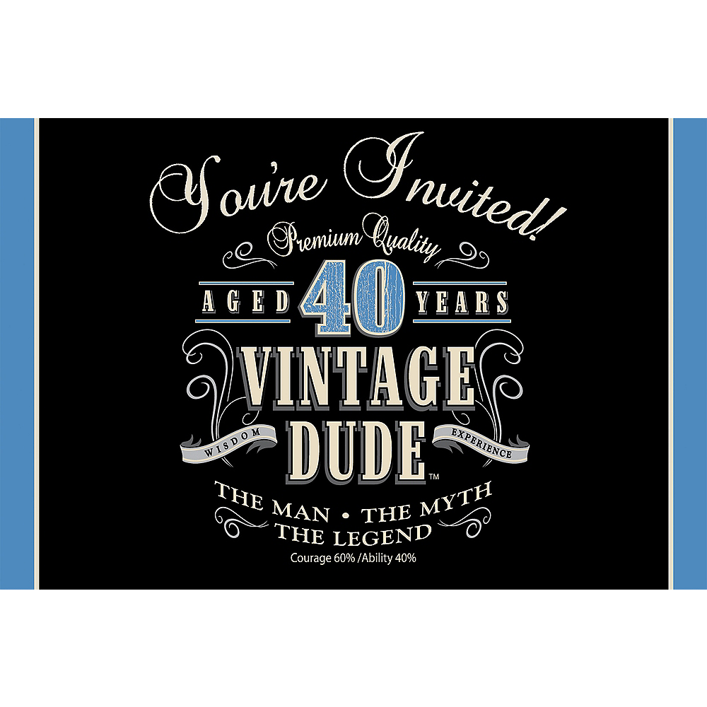 Nav Item for Vintage Dude 40th Birthday Invitations 8ct Image #1