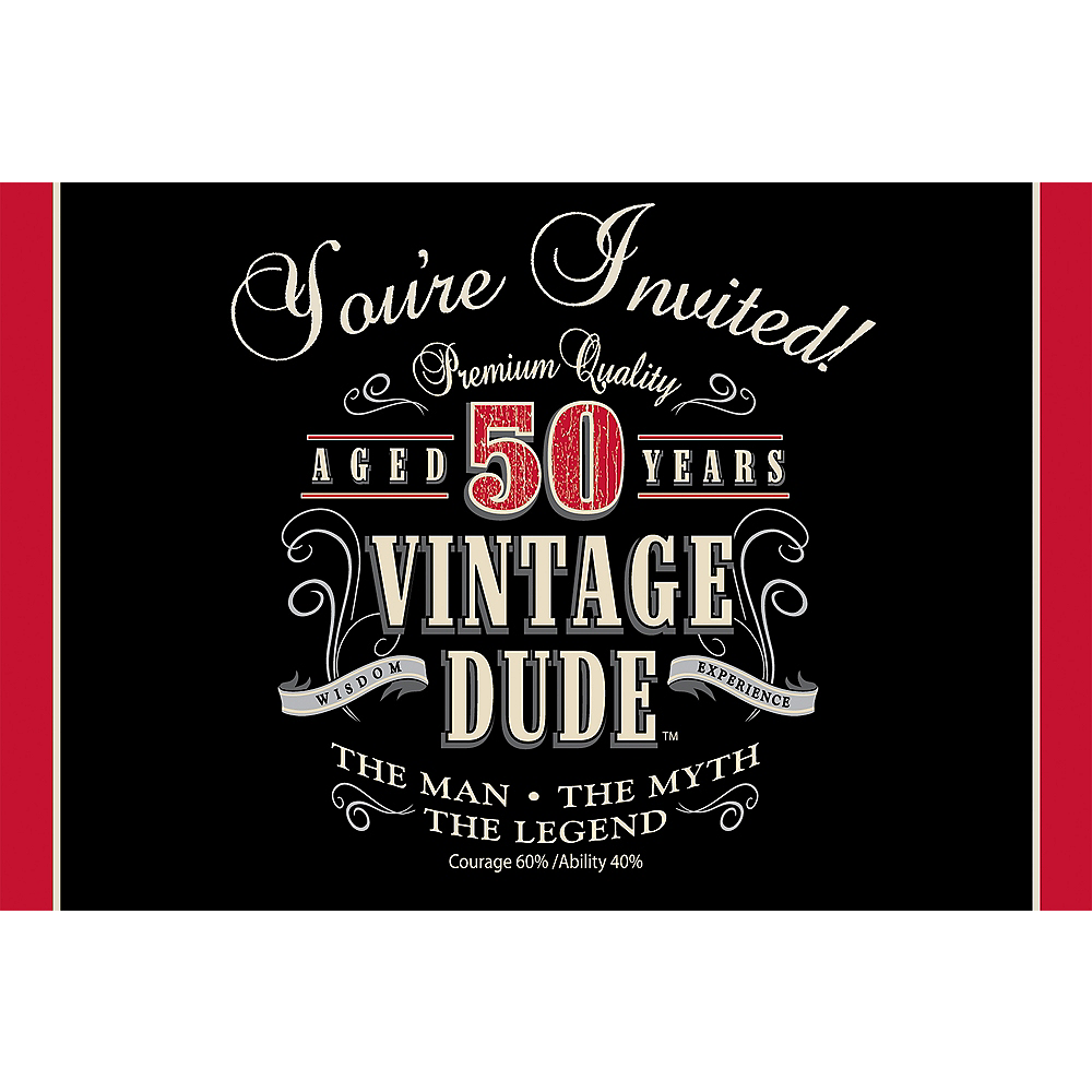 Vintage Dude 50th Birthday Invitations 8ct Image #1