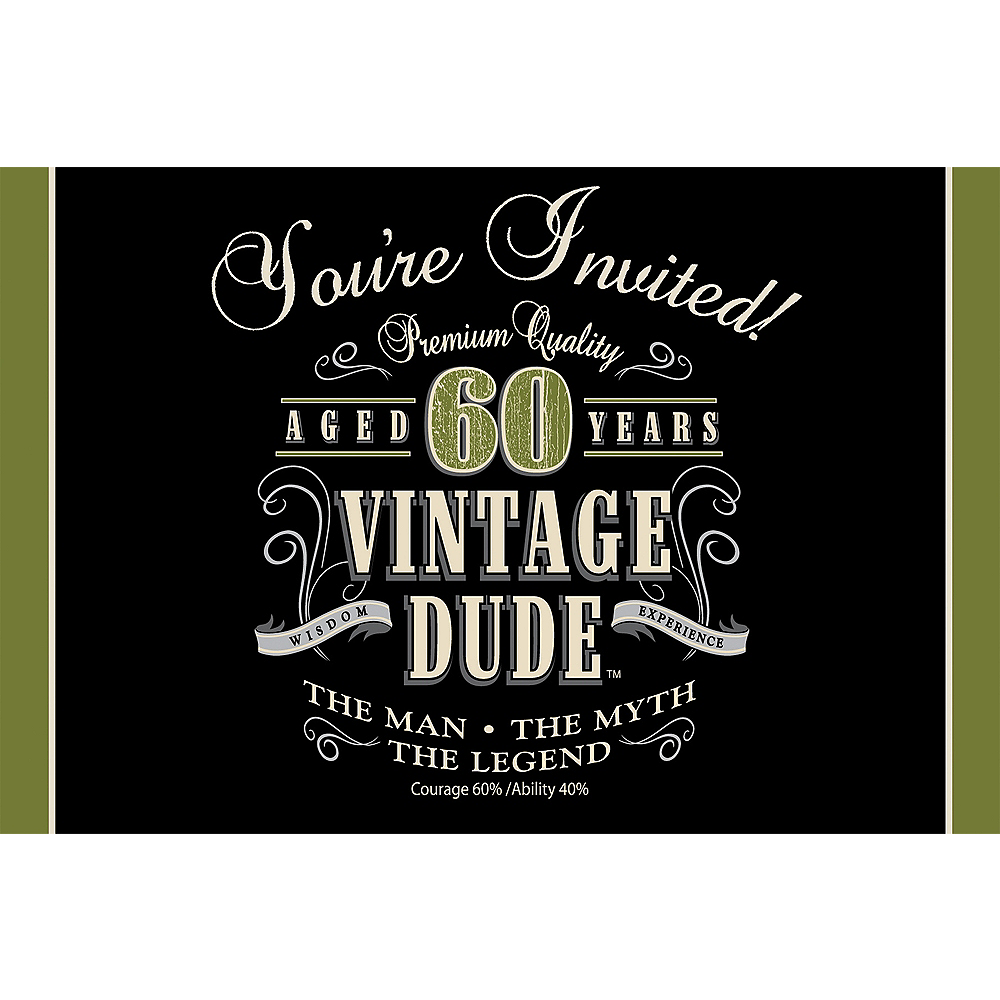 Vintage Dude 60th Birthday Invitations 8ct Image 1