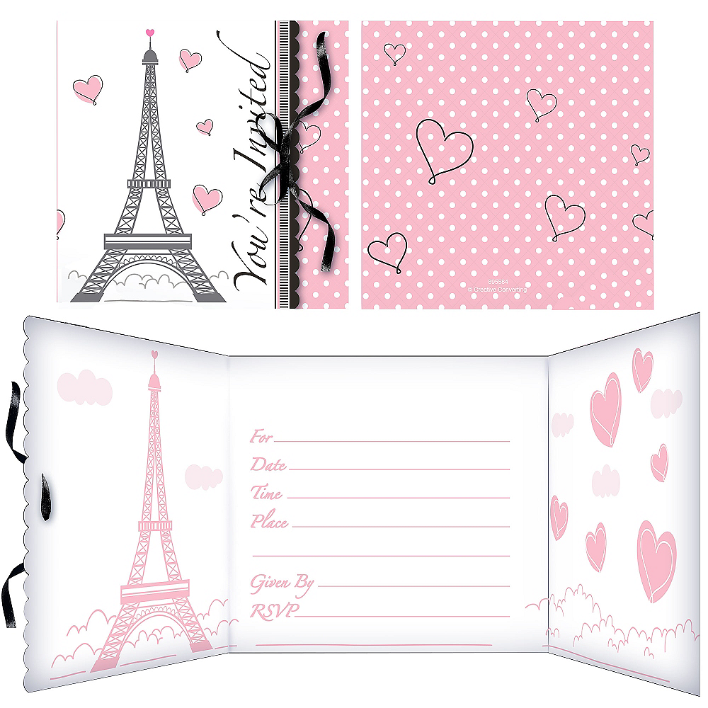 Pink Paris Invitations 8ct Image #1