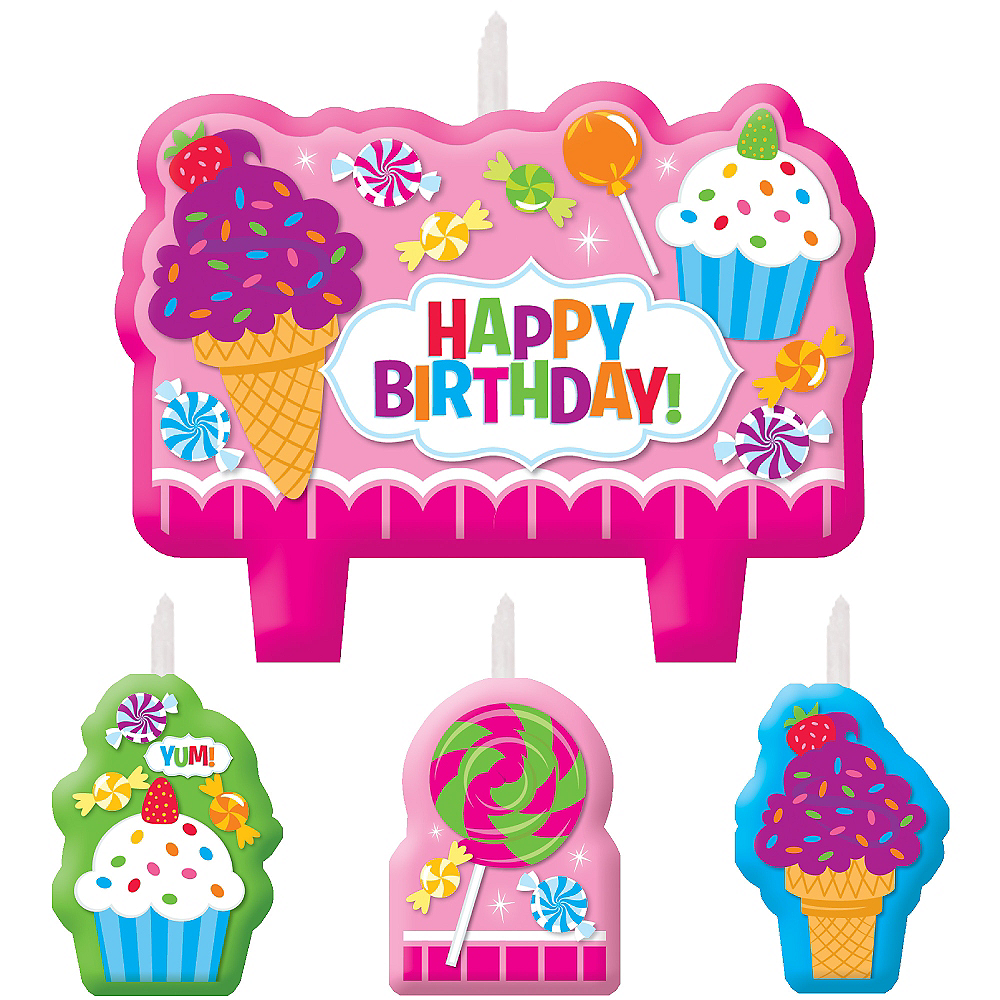 Candy Shoppe Birthday Candles 4ct Image 1