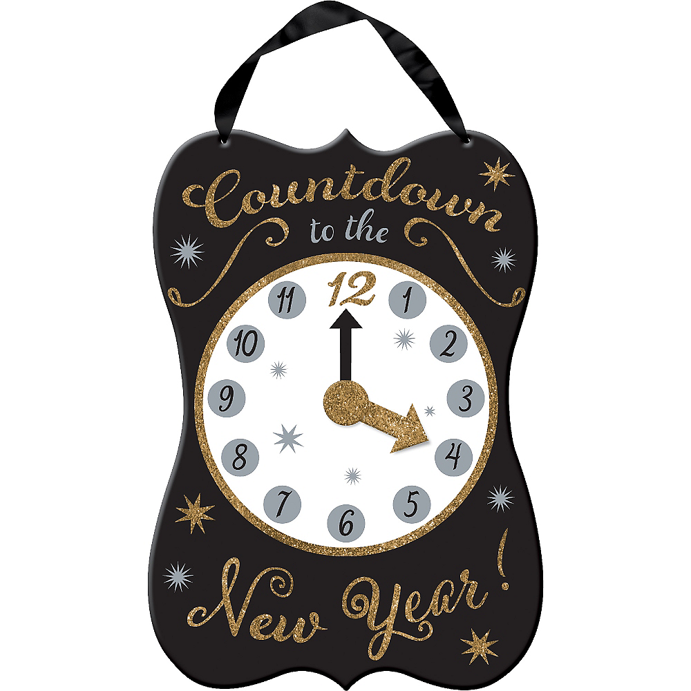 Glitter Clock New Year\'s Sign 11in x 15in | Party City