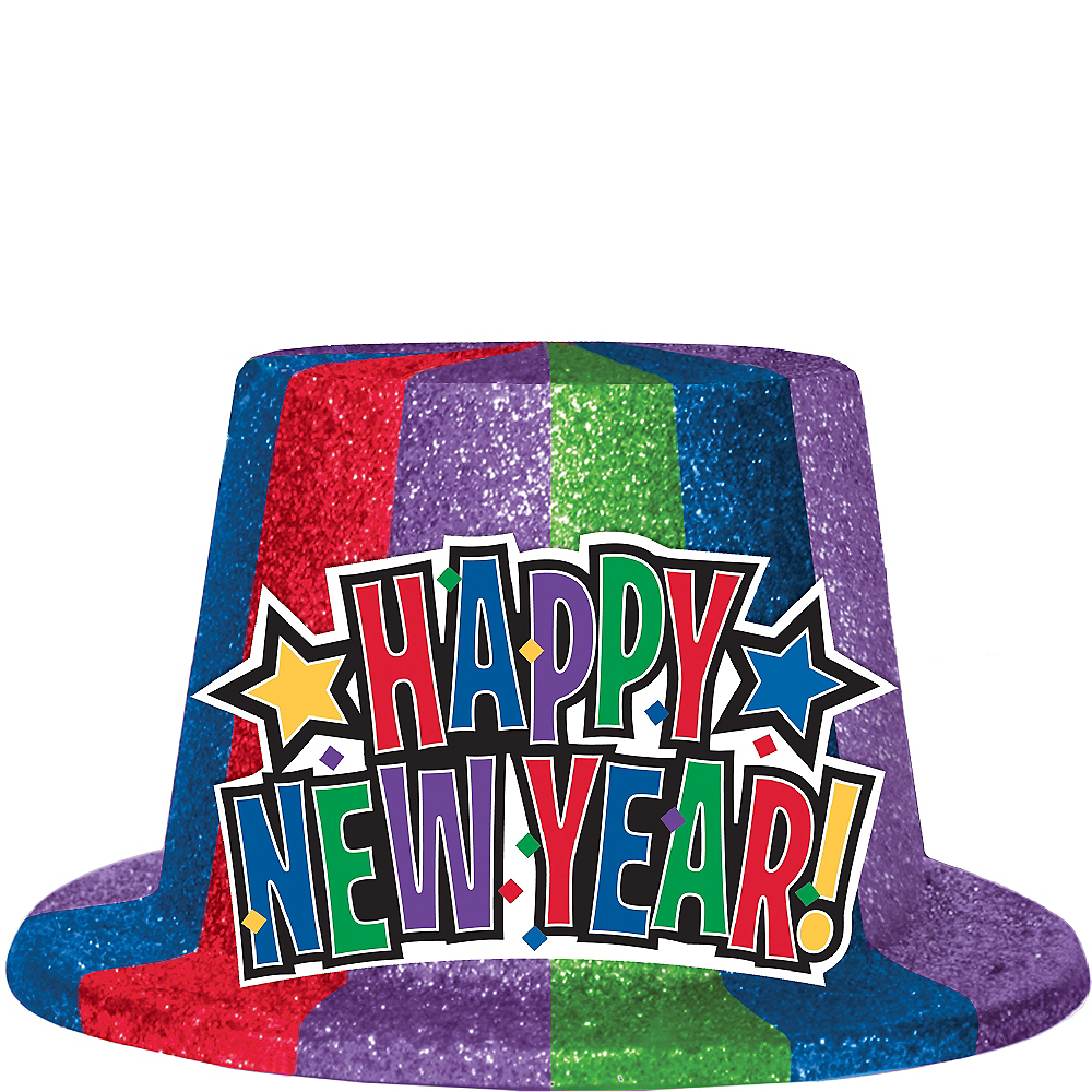 Glitter Rainbow Happy New Year Top Hat Image #1