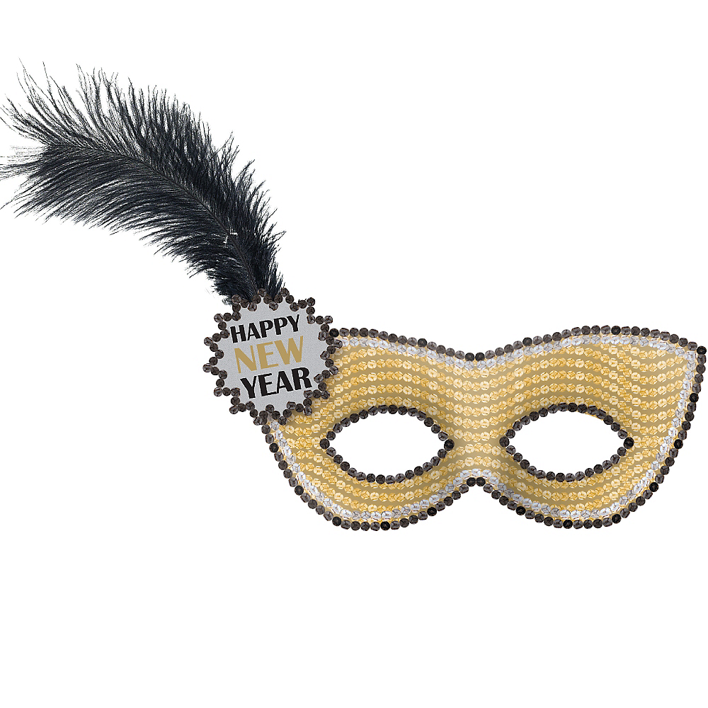 Gold Sequin Happy New Year Masquerade Mask Image #1