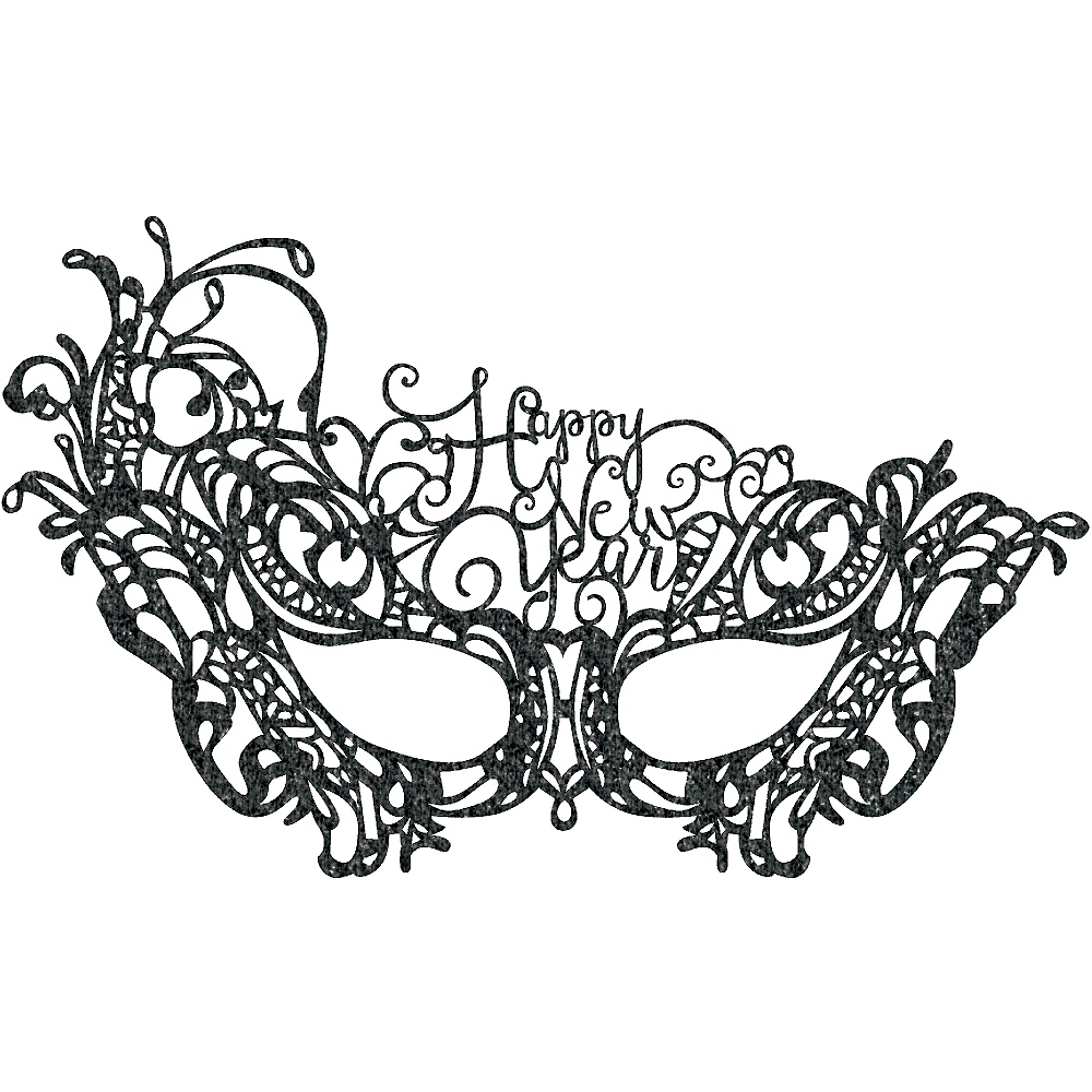 Black Lace Happy New Year Masquerade Mask Image #1