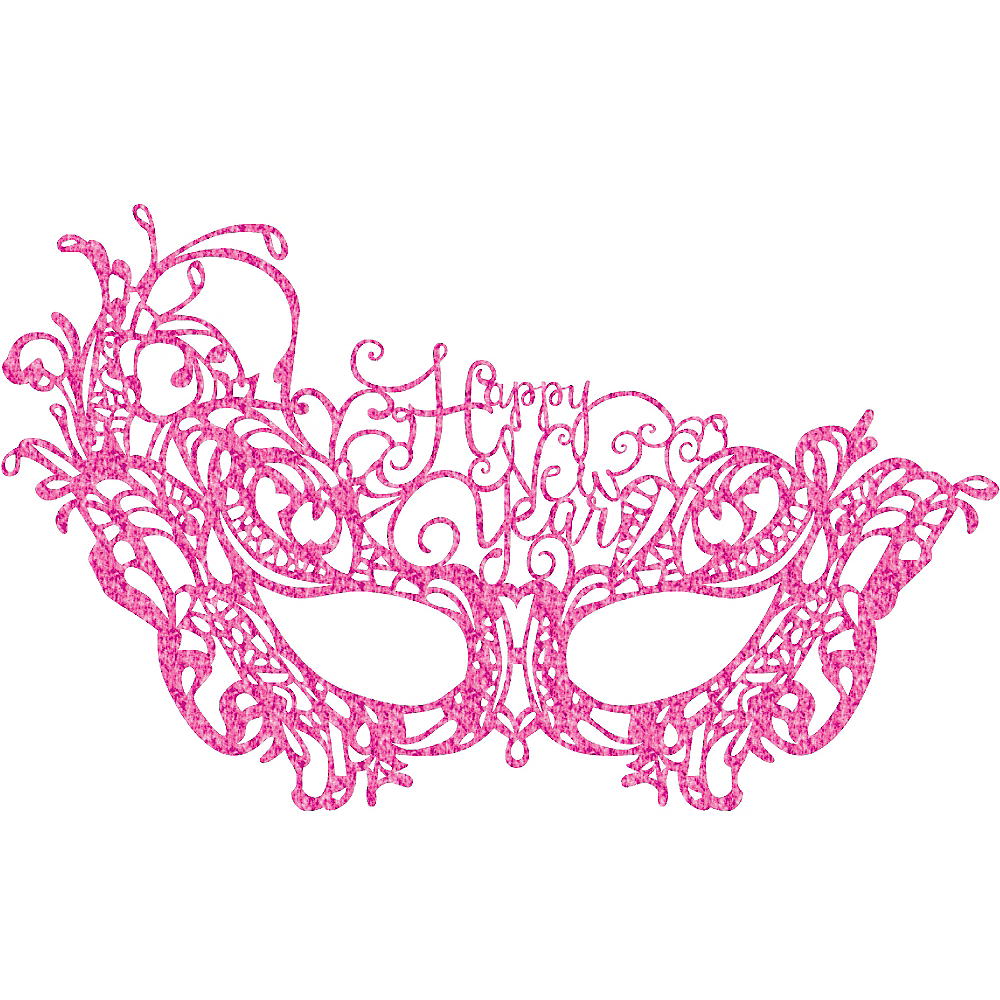 Pink Lace Happy New Year Masquerade Mask Image #1