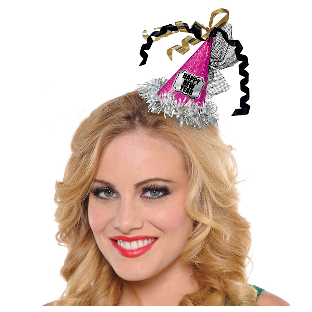 Clip-On Prismatic Pink Happy New Year Mini Party Hat Image #1