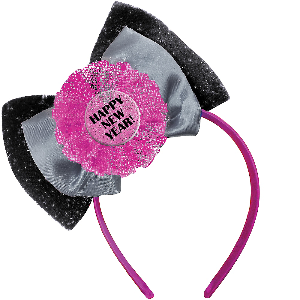 Pink & Black Happy New Year Bow Headband Image #1