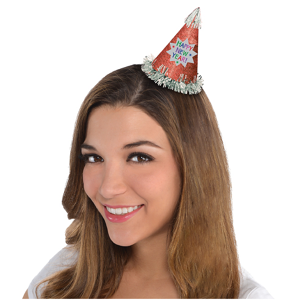 Nav Item for Glitter Red Happy New Year Mini Party Hat Image #1
