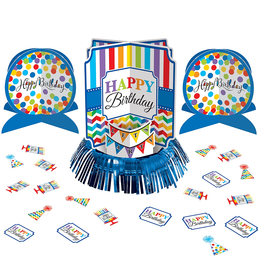 Rainbow Dot & Chevron Birthday Table Decorating Kit 23pc Image #1