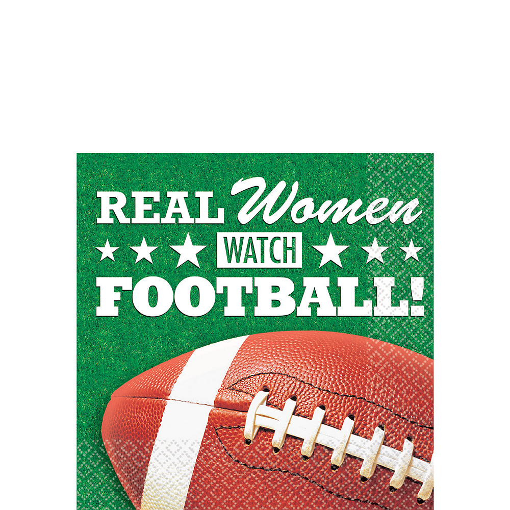 Real Women Watch Football Beverage Napkins 16ct Image #1