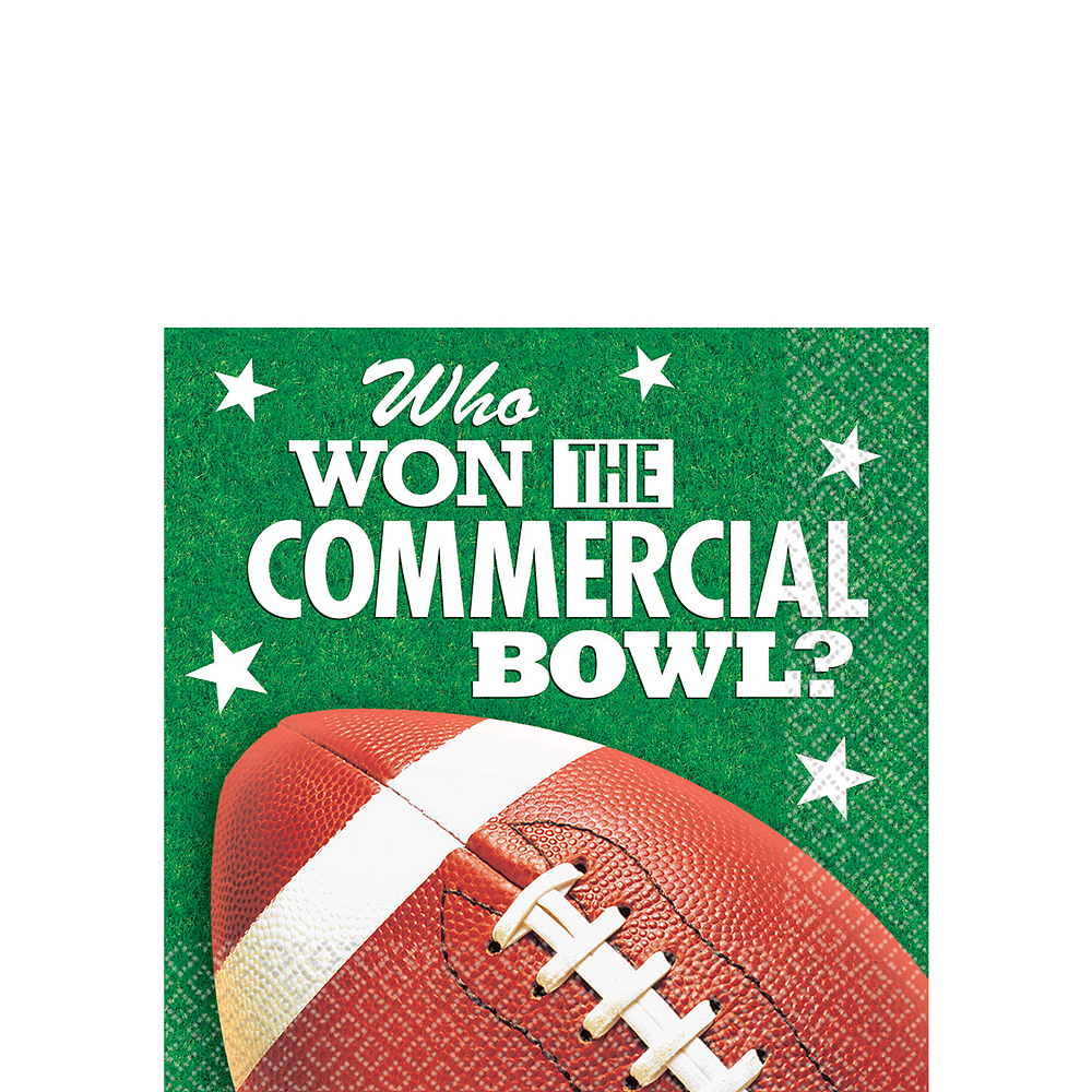 Commercial Bowl Football Beverage Napkins 16ct Image #1