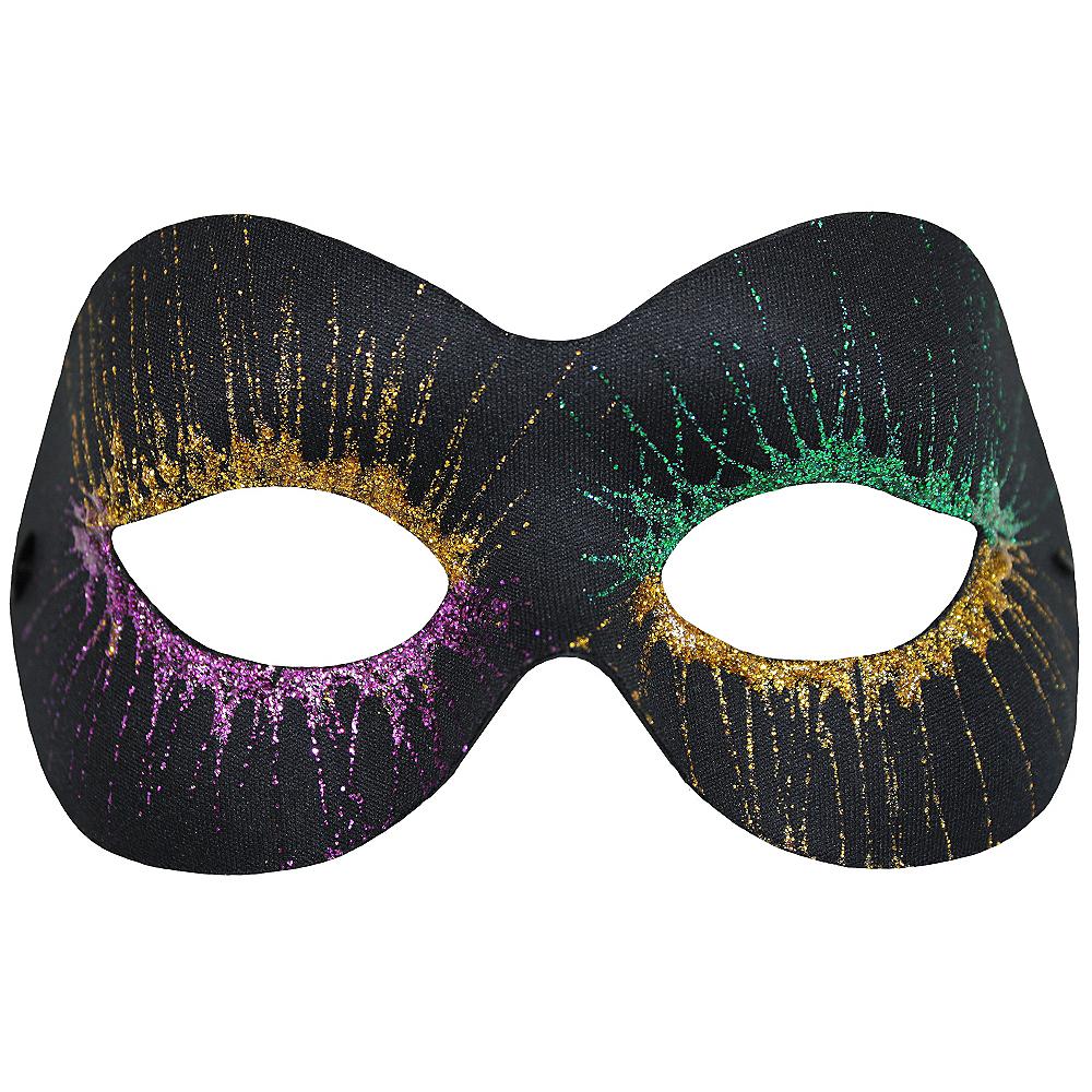 Glitter Starburst Black Mardi Gras Masquerade Mask Image #1