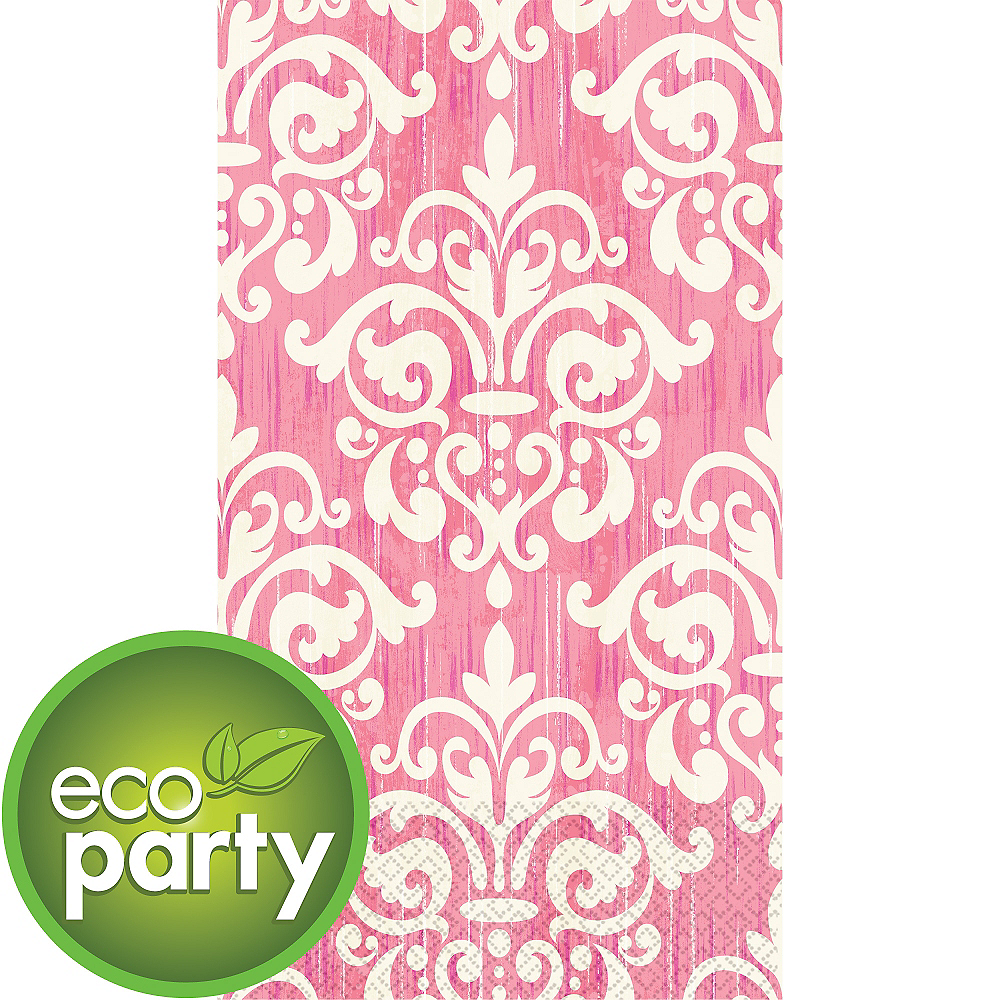 Eco-Friendly Pink Damask Guest Towels 16ct Image #1