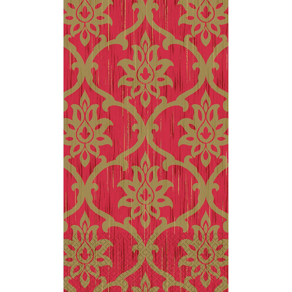 Festive Red & Gold Damask Guest Towels 16ct Image #1