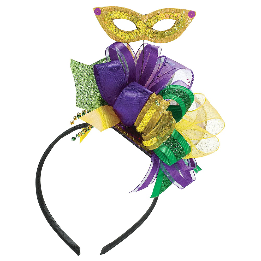 Nav Item for Masquerade Mask Mardi Gras Fascinator Headband Image #1