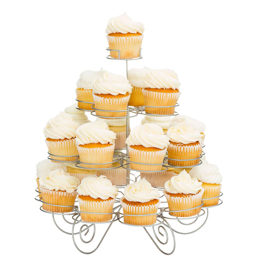 4-Tier Silver Wire Cupcake Stand Holds 23 | Party City