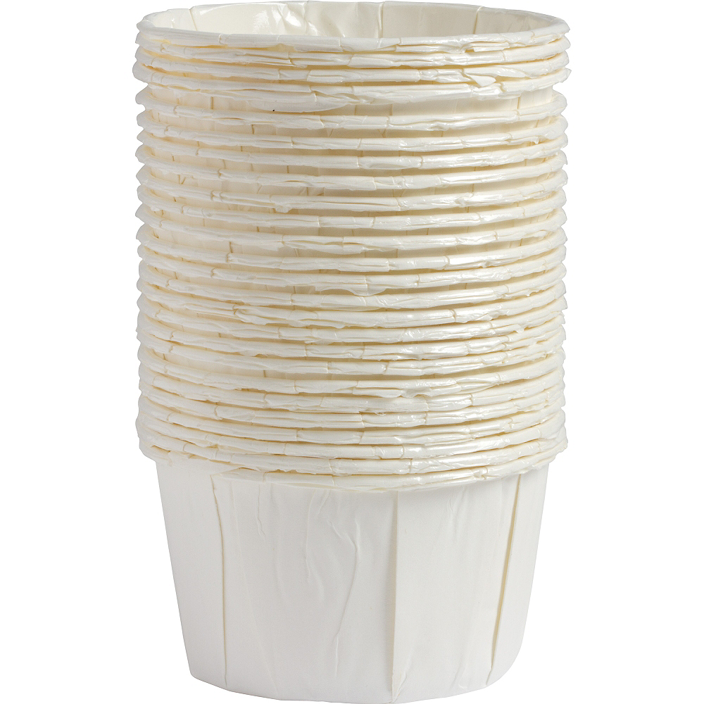 White Pleated Nut Cups 24ct Image #1