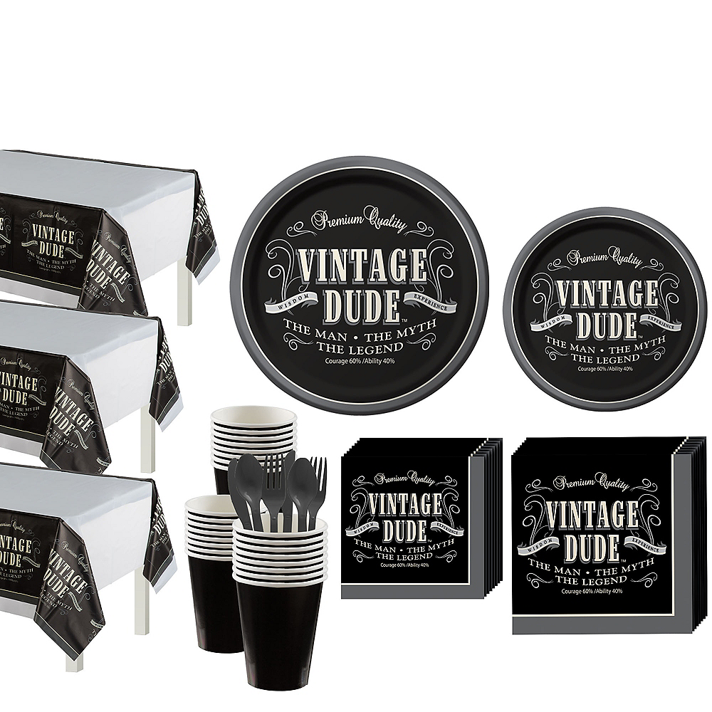 Vintage Dude Party Kit for 32 Guests Image #1