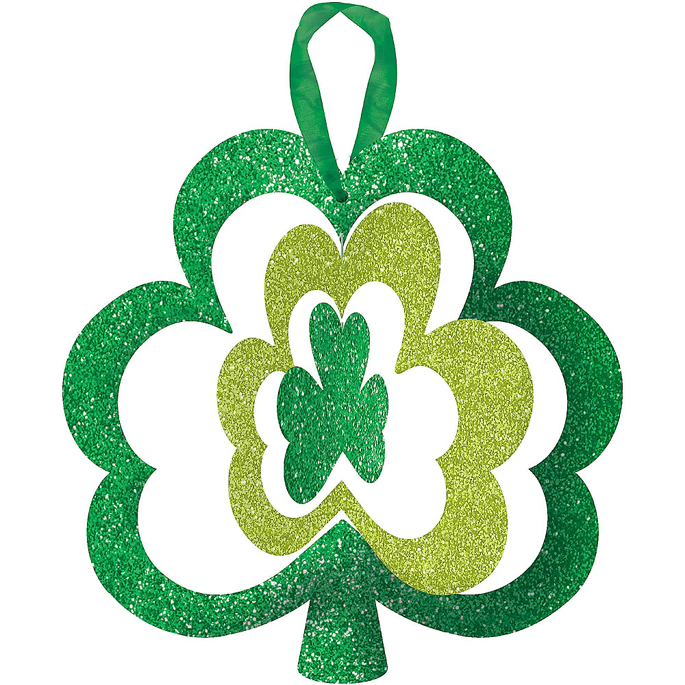 Glitter Spinning Shamrock Sign Image #1