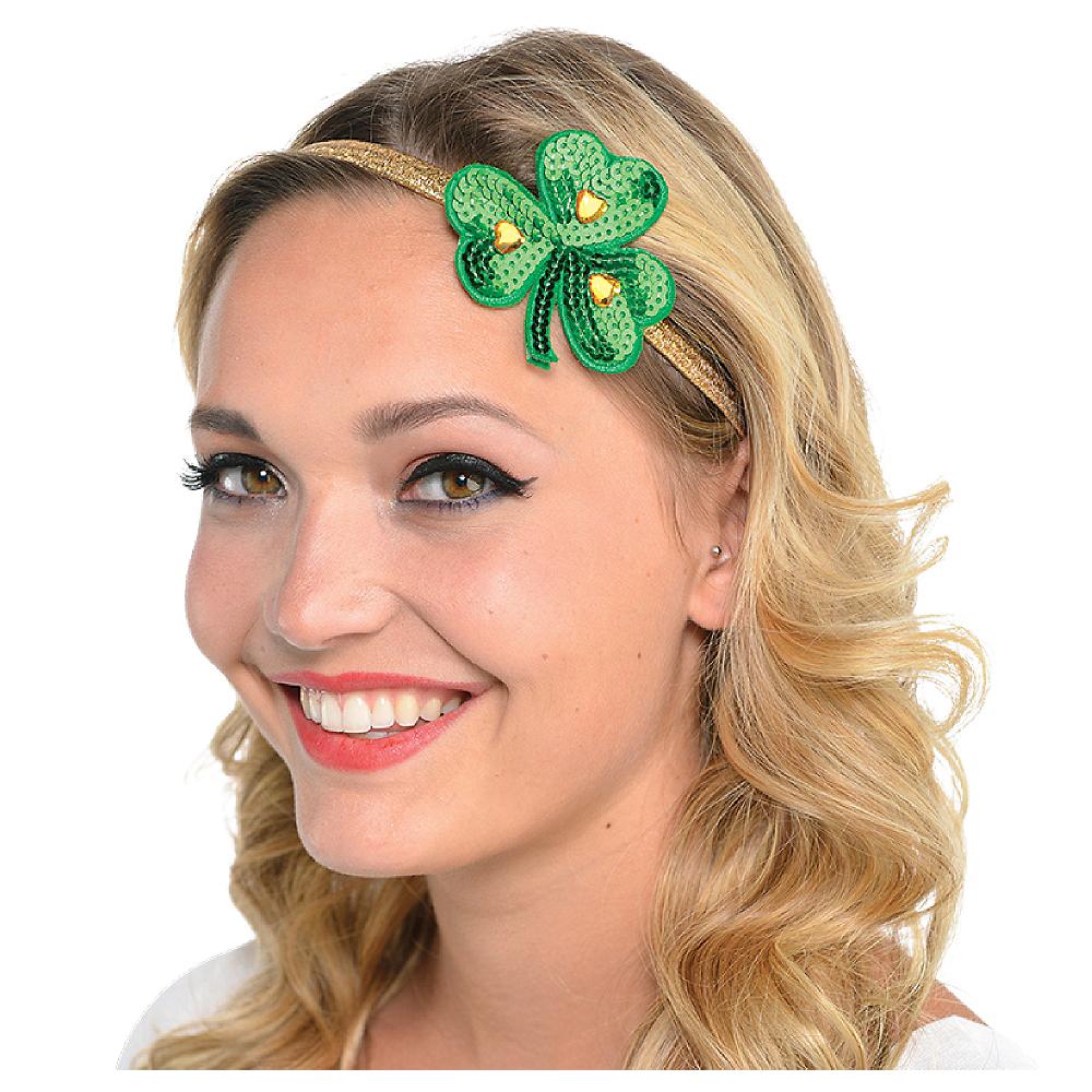 Sequin Shamrock Elastic Headband Image #1