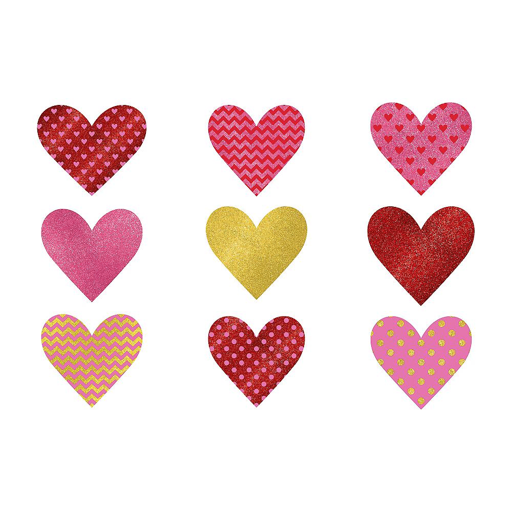 Glitter Dot & Chevron Heart Cutouts 9ct Image #1