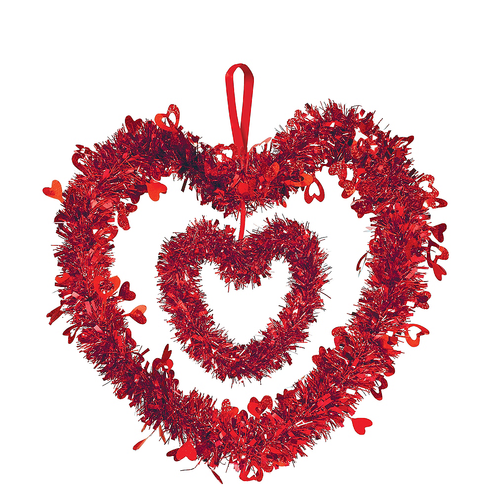 Hanging Tinsel Double Heart 12in Party City