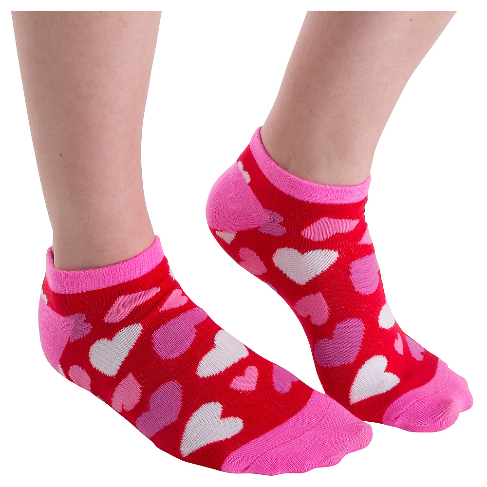 Red Hearts Valentine's Day Ankle Socks Image #1