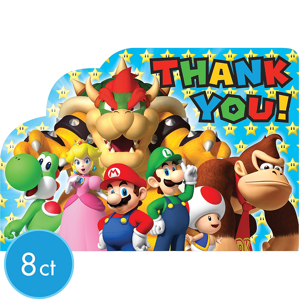 Super Mario Thank You Notes 8ct Image #1
