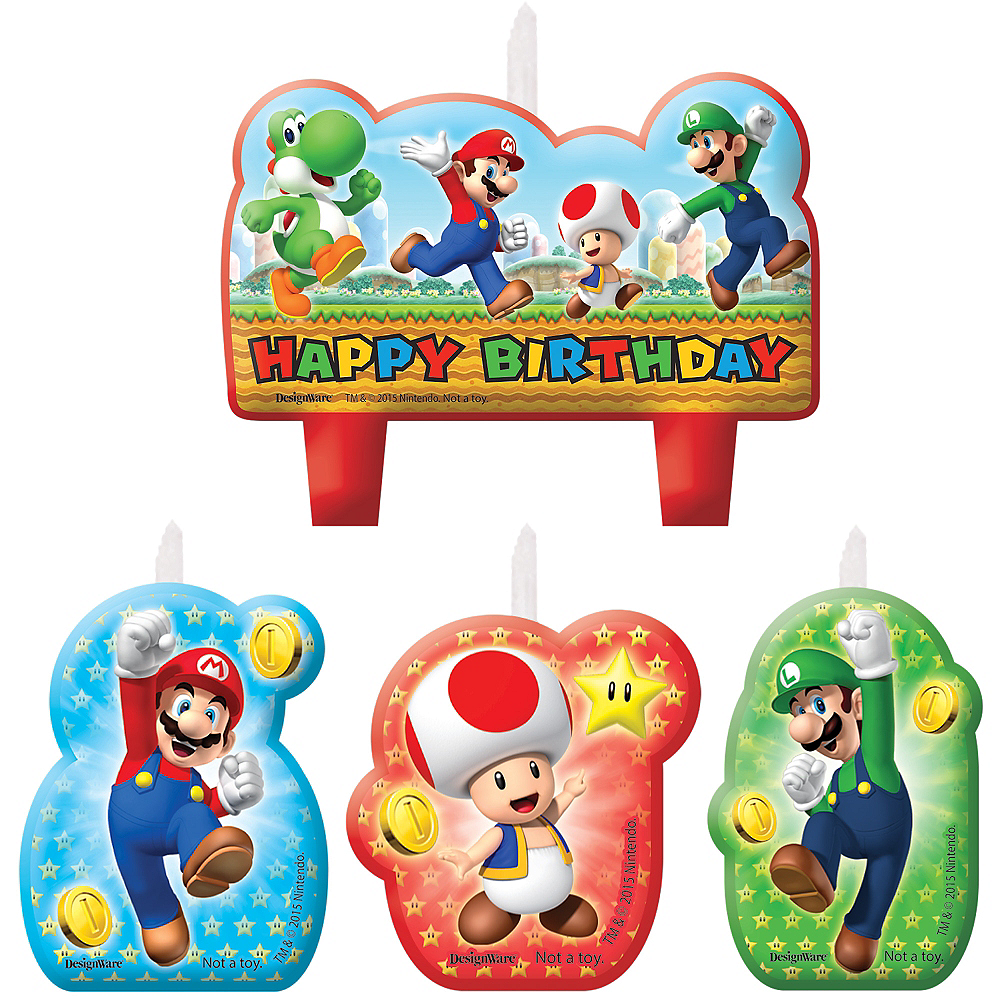 Super Mario Birthday Candles 4ct Image #1
