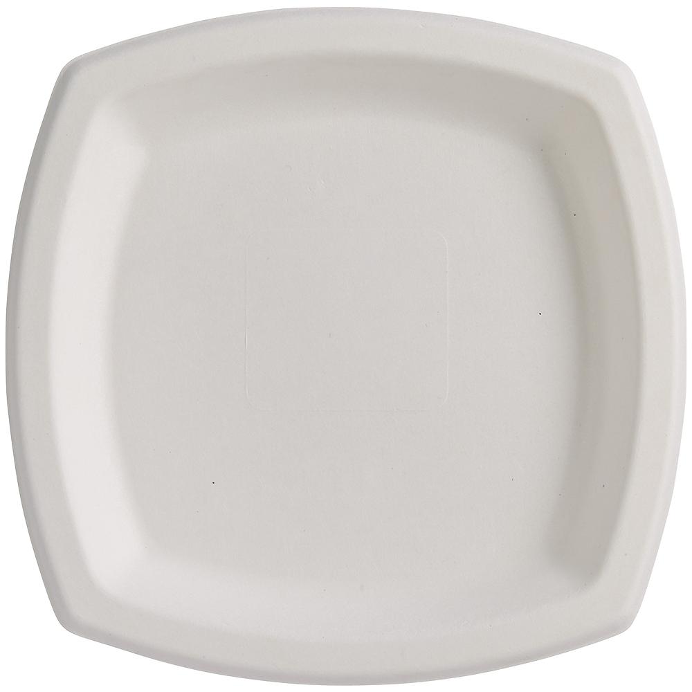 Eco-Friendly White Sugar Cane Square Dessert Plates 22ct Image #2