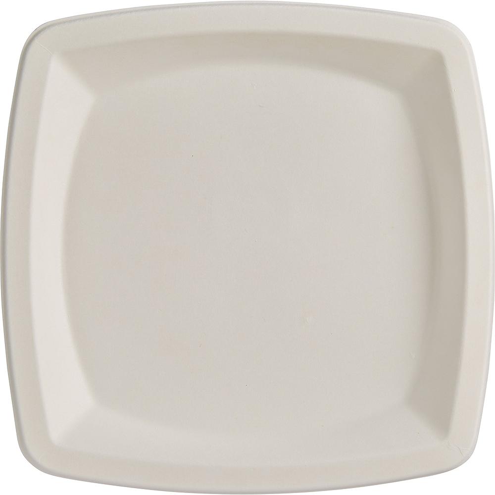 Eco-Friendly White Sugar Cane Square Dinner Plates 10ct Image #2