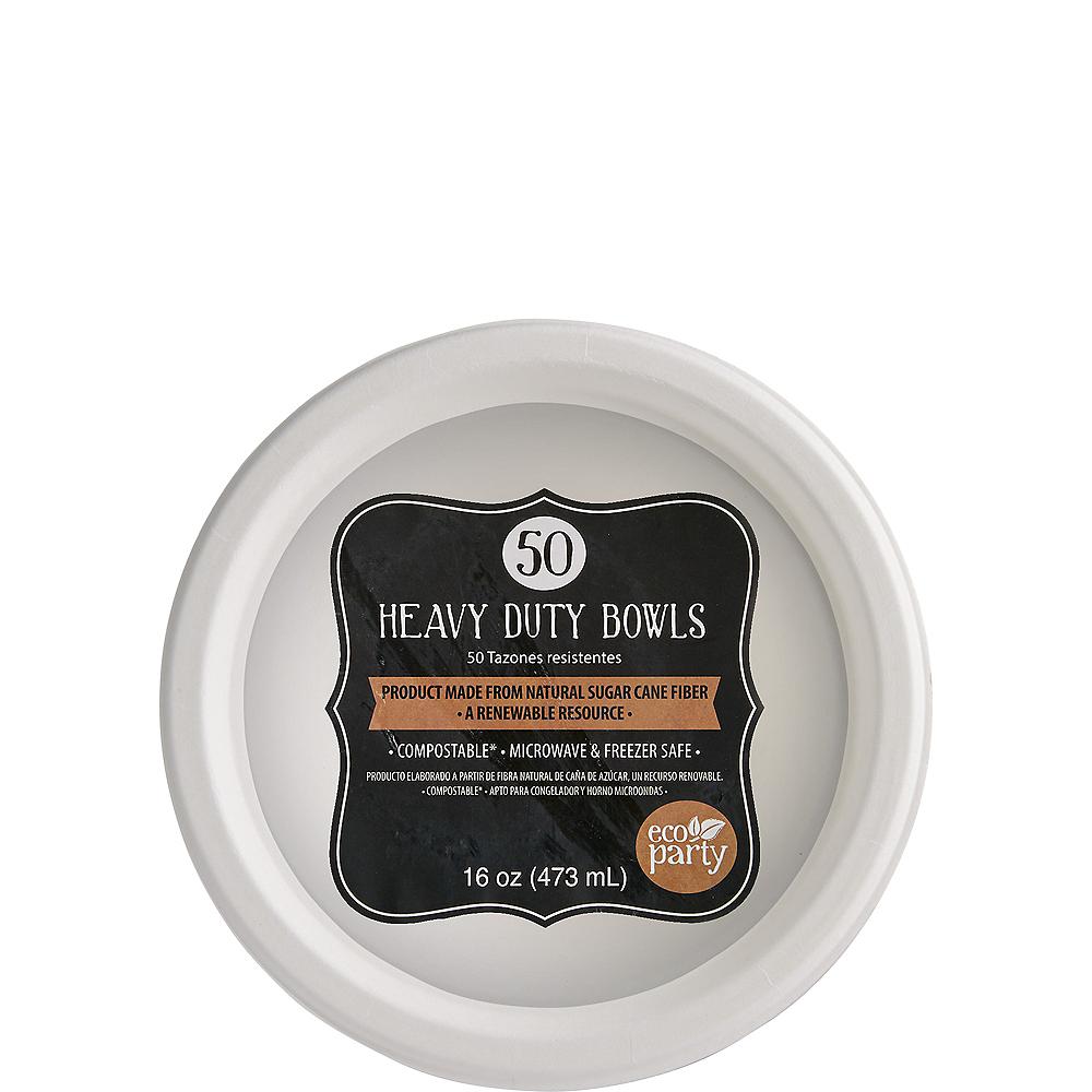Eco-Friendly White Sugar Cane Bowls 50ct Image #1