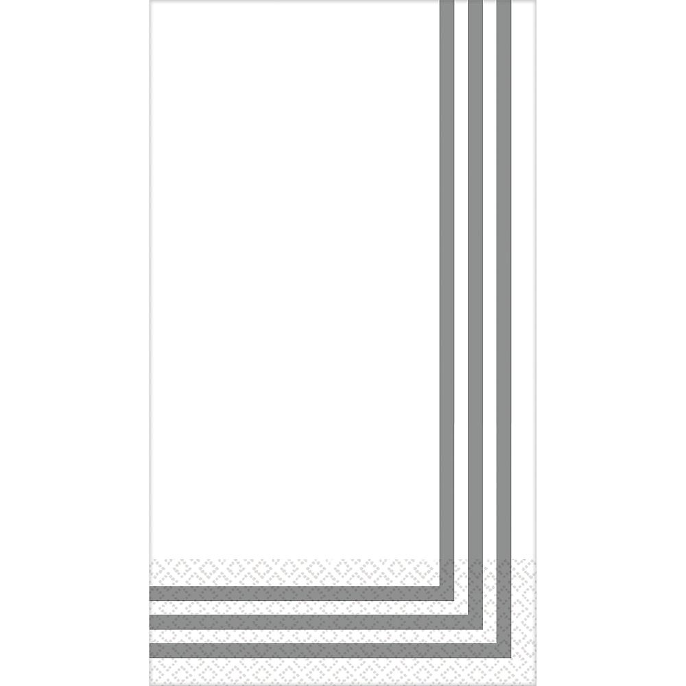 Silver Classic Stripe Premium Guest Towels 16ct Image #1