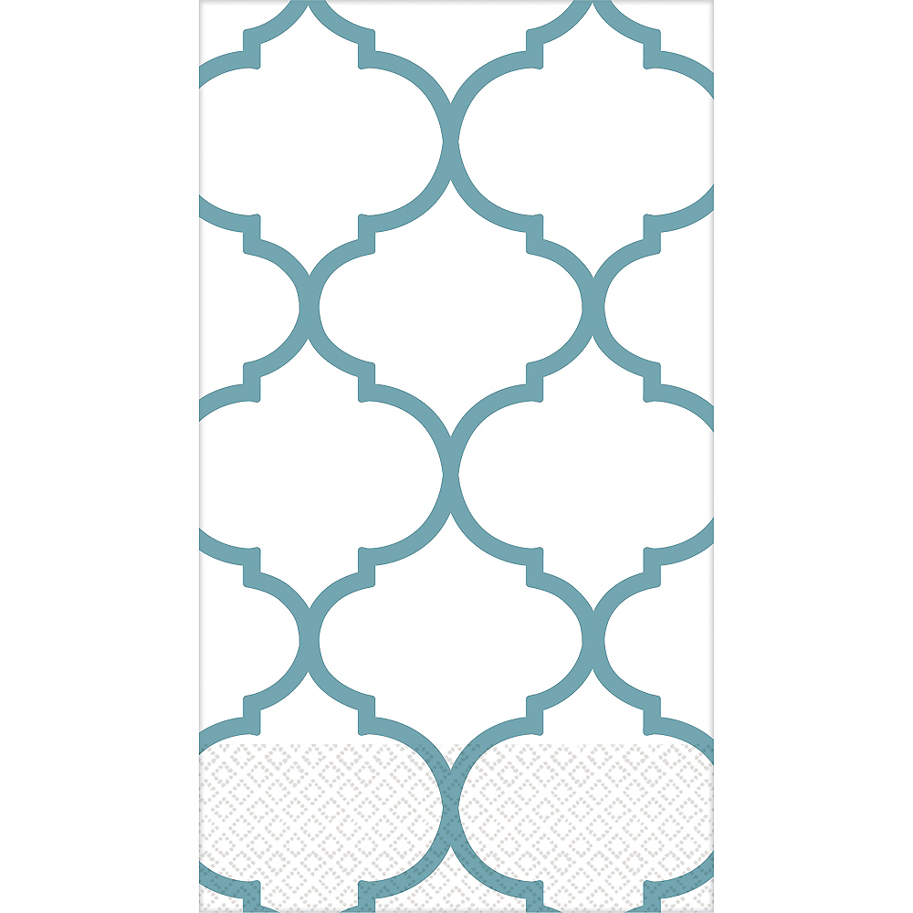 Teal Lattice Premium Guest Towels 16ct Image #1