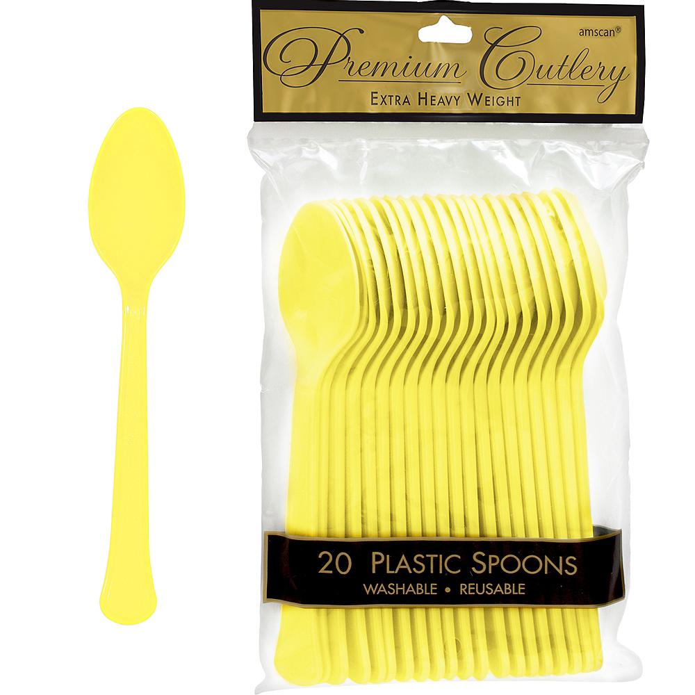 Light Yellow Premium Plastic Spoons 20ct Image #1