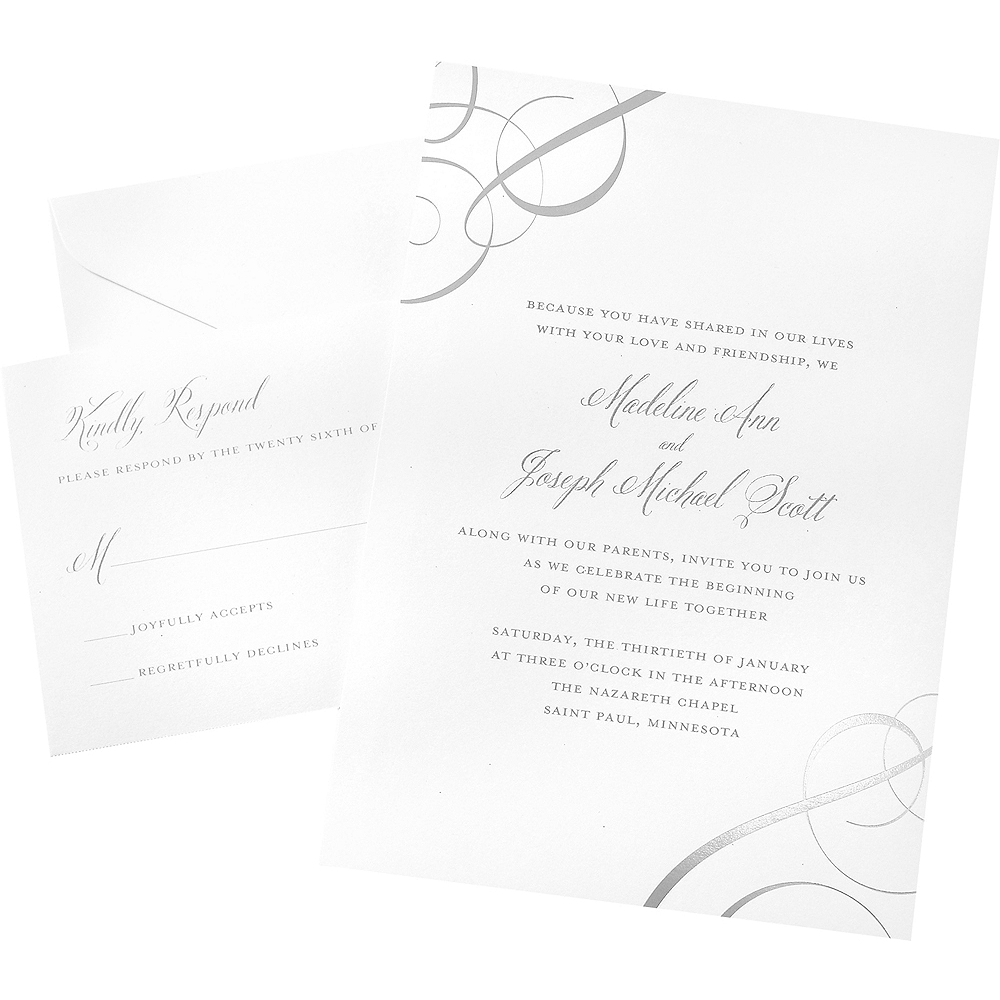 Silver Foil Swirl Wedding Invitations