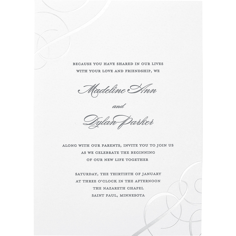 Together With Their Parents Wedding Invitation: Silver Foil Swirl Wedding Invitations 50ct