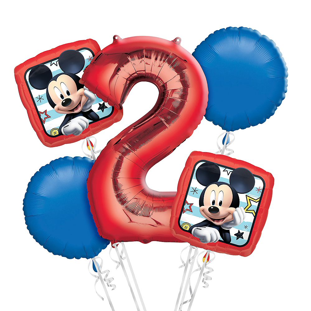 Mickey Mouse 2nd Birthday Balloon Bouquet 5pc Image #1