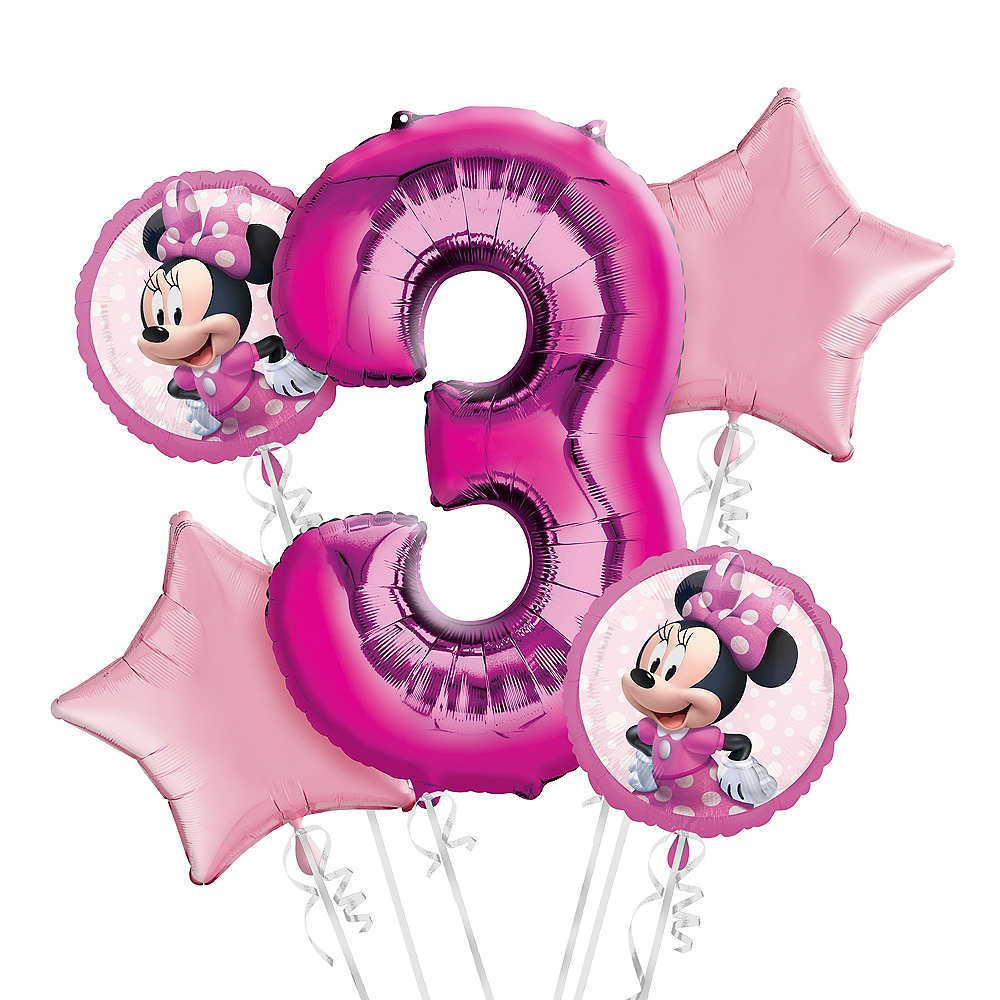 Minnie Mouse 3rd Birthday Balloon Bouquet 5pc Image #1