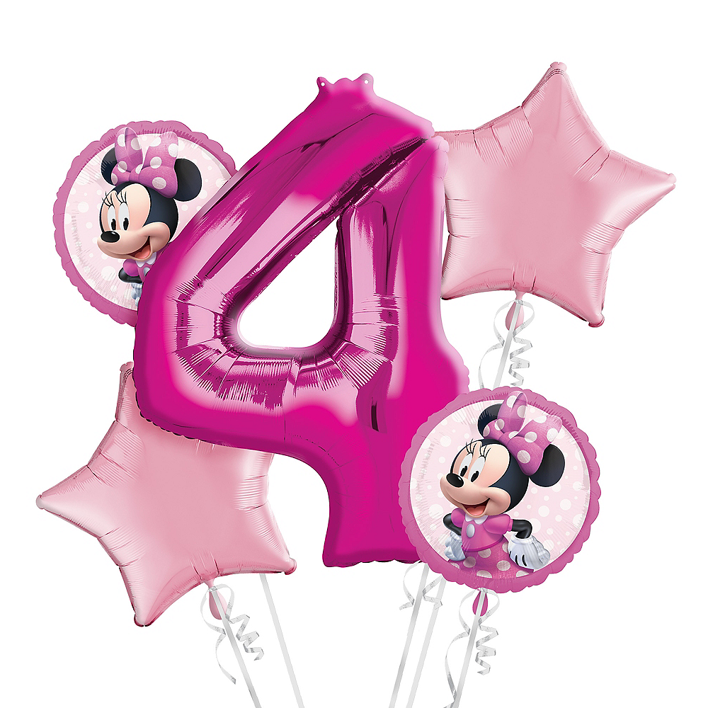 Minnie Mouse 4th Birthday Balloon Bouquet 5pc Image #1