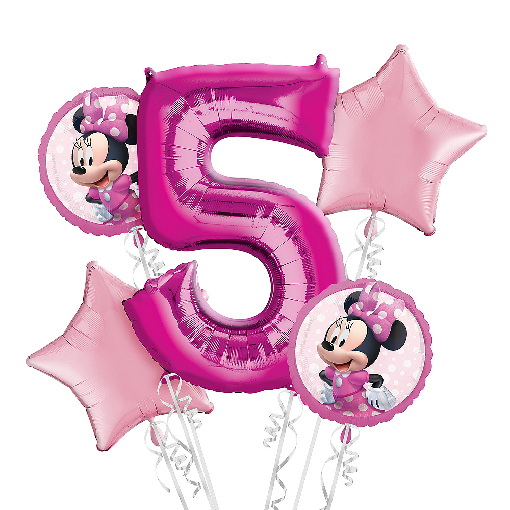 Minnie Mouse 5th Birthday Balloon Bouquet 5pc Image 1