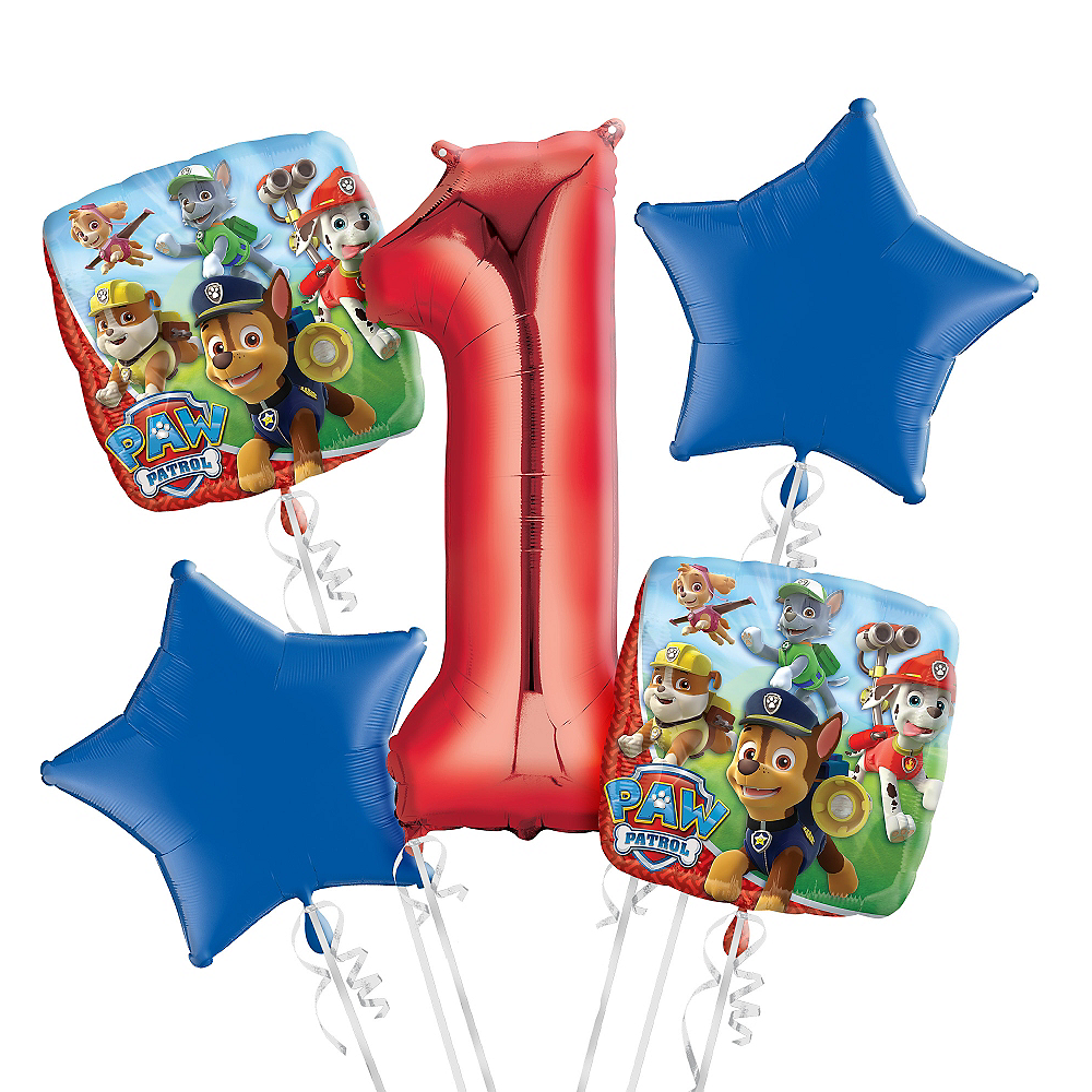 Nav Item For PAW Patrol 1st Birthday Balloon Bouquet 5pc Image 1