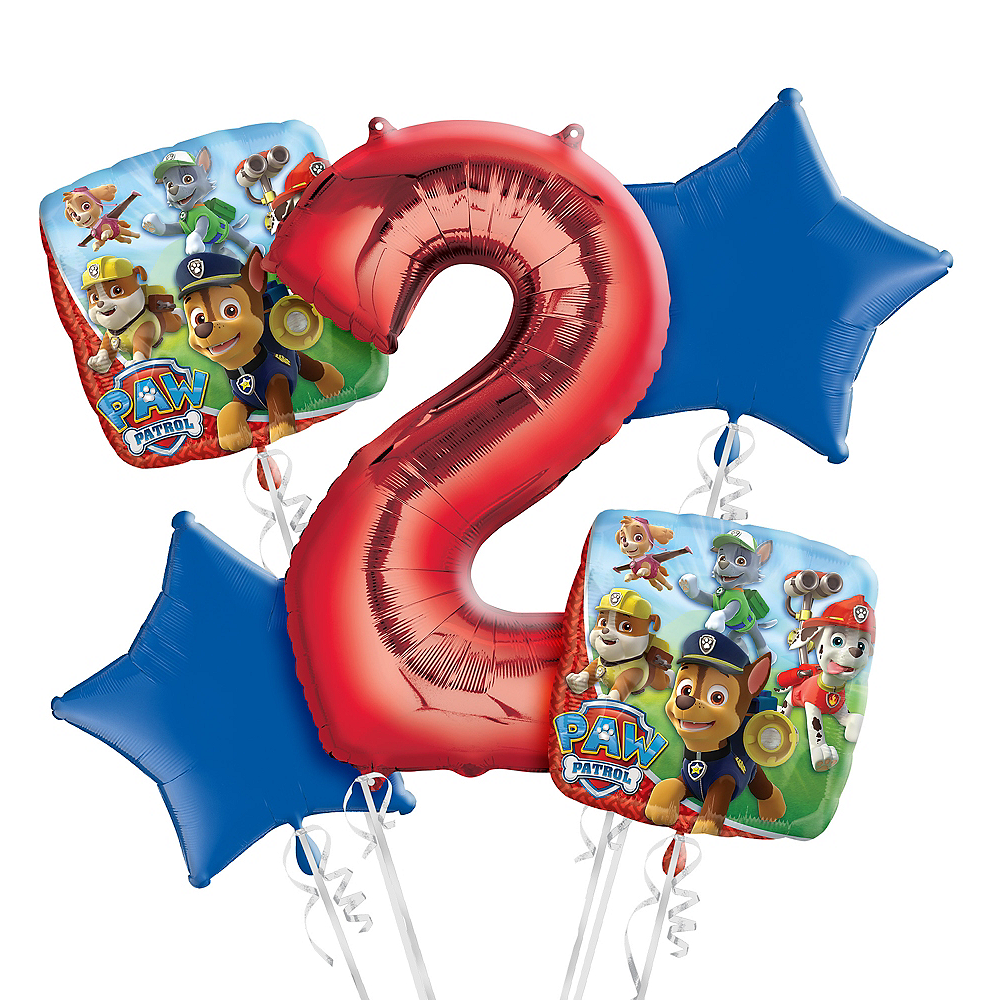 Nav Item For PAW Patrol 2nd Birthday Balloon Bouquet 5pc Image 1
