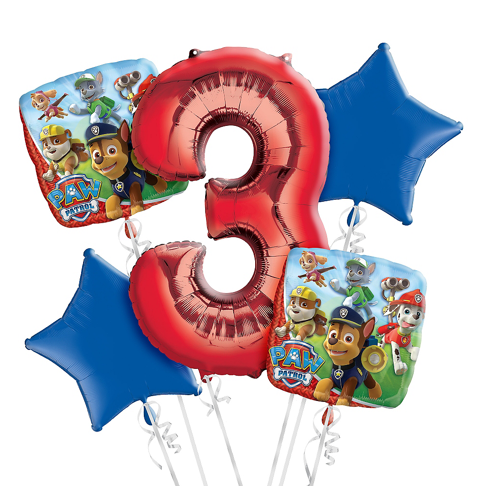 Nav Item For PAW Patrol 3rd Birthday Balloon Bouquet 5pc Image 1