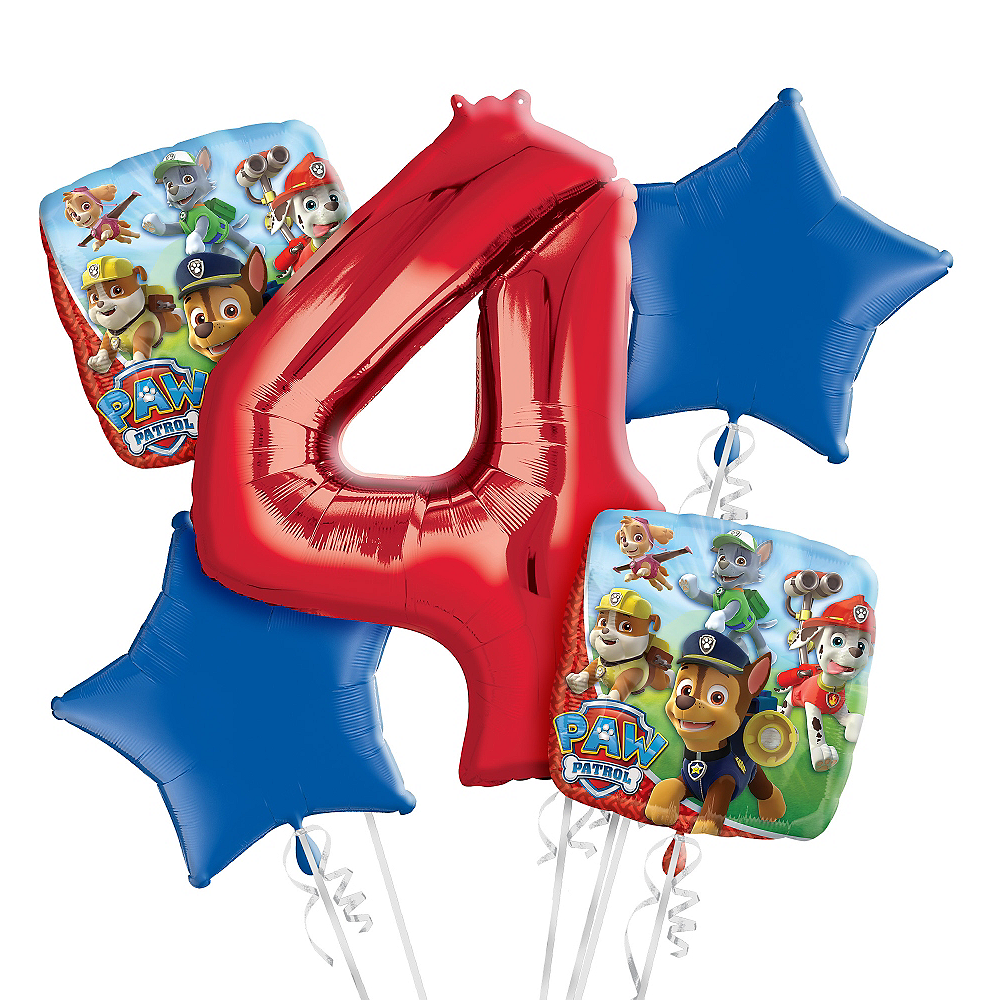 Nav Item for PAW Patrol 4th Birthday Balloon Bouquet 5pc Image #1