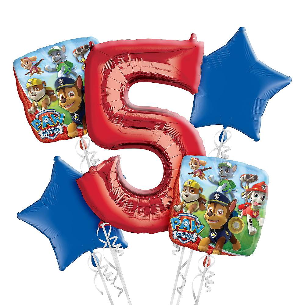 Nav Item For PAW Patrol 5th Birthday Balloon Bouquet 5pc Image 1